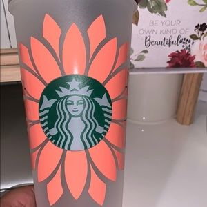 Custom Starbucks cup with coral flower